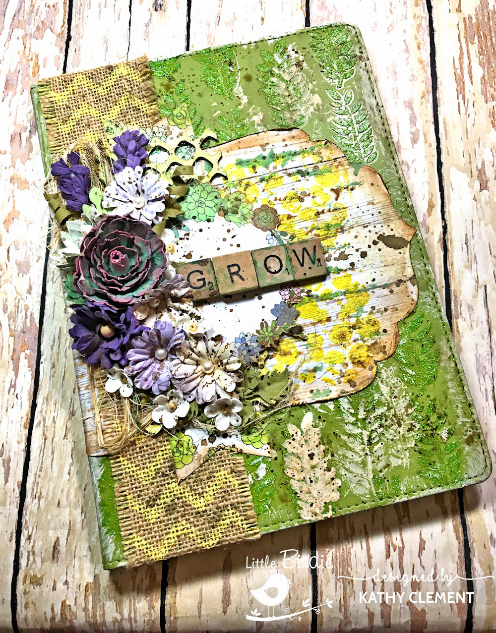 Grow Gardener's Mixed Media Altered Journal Succulent Garden by Kathy Clement Product by Little Birdie Crafts Photo 01