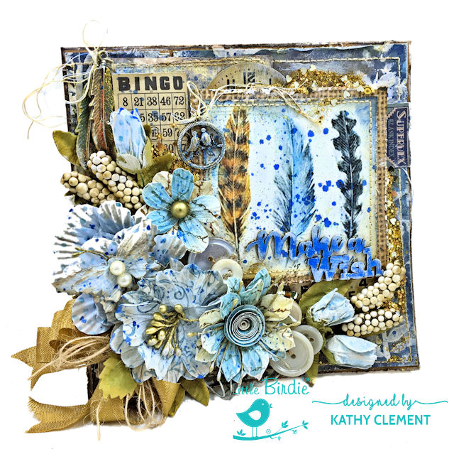 Little Birdie Crafts Mixed Media Birthday Wish Greeting Card by Kathy Clement Photo 01